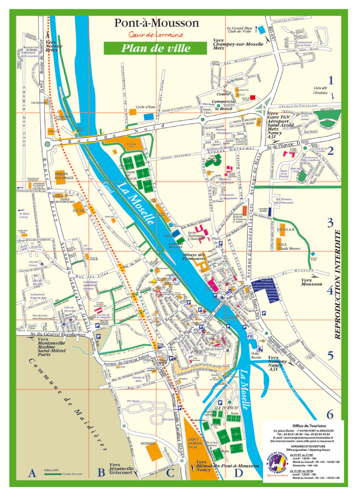 Tourisme pont mousson plan de ville for Piscine pont a mousson horaires